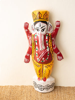 Burdwan Wood Craft Wall Piece / Curio - Lord Ganesha - The India Craft House