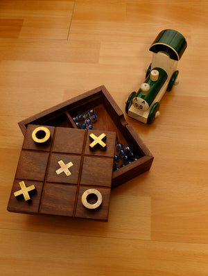 FOR KIDS - Tic Tac Wooden Game Large & Channapatna Wooden Toy - Engine, Green, Small. - The India Craft House