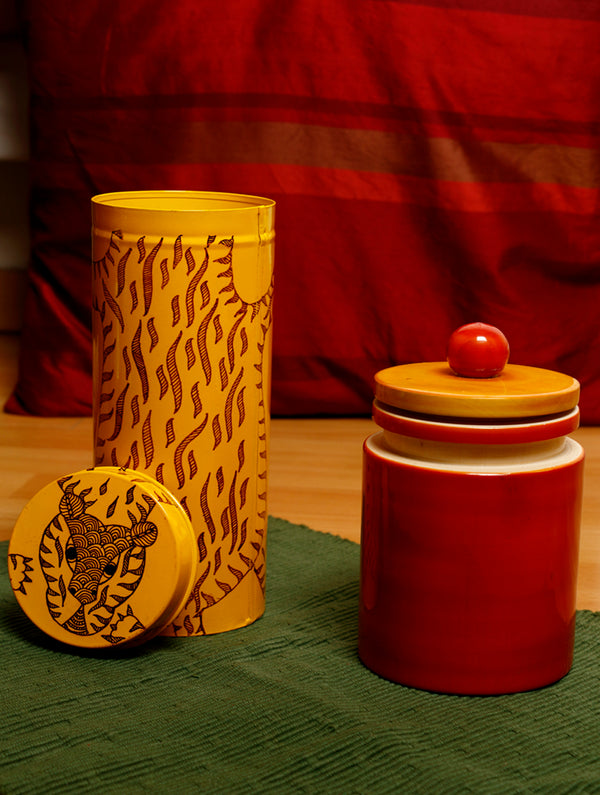 FOR HOME DECOR - Channapatna Wood Craft - Utility Jar & Pattachitra Art - Cookie Box. - The India Craft House