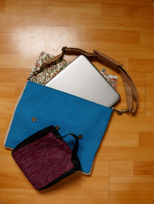 FOR HIM - Smart, classy Jute & Silk Laptop Bag & Khadi Multi - Utility Travel Case. - The India Craft House