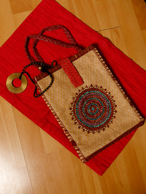 FOR HER - Jute with Zardozi & Dabka embroidery Ipad case & Dhokra Metal & Thread Necklace. - The India Craft House