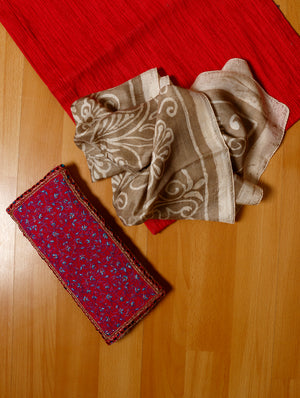 FOR HER - Pure Silk Fine Embroidered Clutch Bag & Elegant Batik Printed Silk Scarf / Stole - Long. - The India Craft House