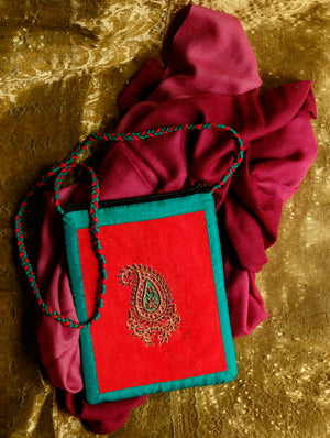 FOR HER - Fine, Soft Kashmiri Shaded Wool Stole & Suede with Zardozi Sling Bag. - The India Craft House