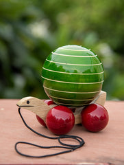 Channapatna Tuttu Turtle - Green Wooden Pull Toy