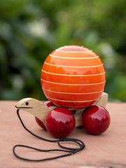 Channapatna Tuttu Turtle - Orange Wooden Pull Toy