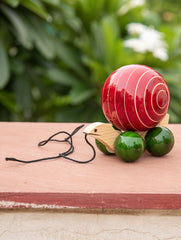 Channapatna Tuttu Turtle - Red Wooden Pull Toy