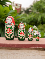 Channapatna Wooden 4-in-1 Green Doll Set - Family Dolls
