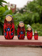 Channapatna Wooden 4-in-1 Red Doll Set - Family Dolls