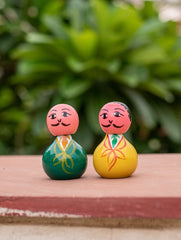 Channapatna Wooden Yellow & Green Dolls (Set of 2)