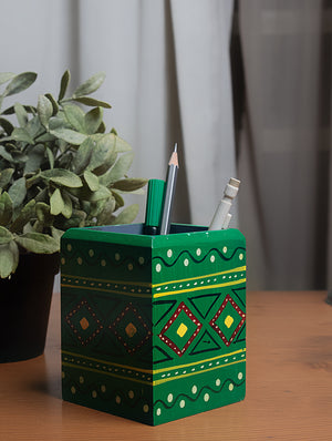 Channapatna Wood Craft - Stationery Stand - Green - The India Craft House