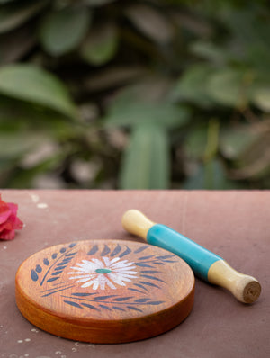 Channapatna Wooden Toy - Chakla-Belan With Design - The India Craft House