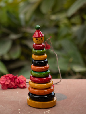 Channapatna Wooden Toy - Counting Rings - The India Craft House