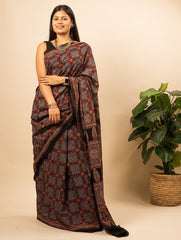 Classic Ajrakh Block Printed Cotton Mul Saree (With Blouse Piece)