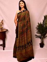 Classic Ajrakh Block Printed Cotton Saree (With Blouse Piece)