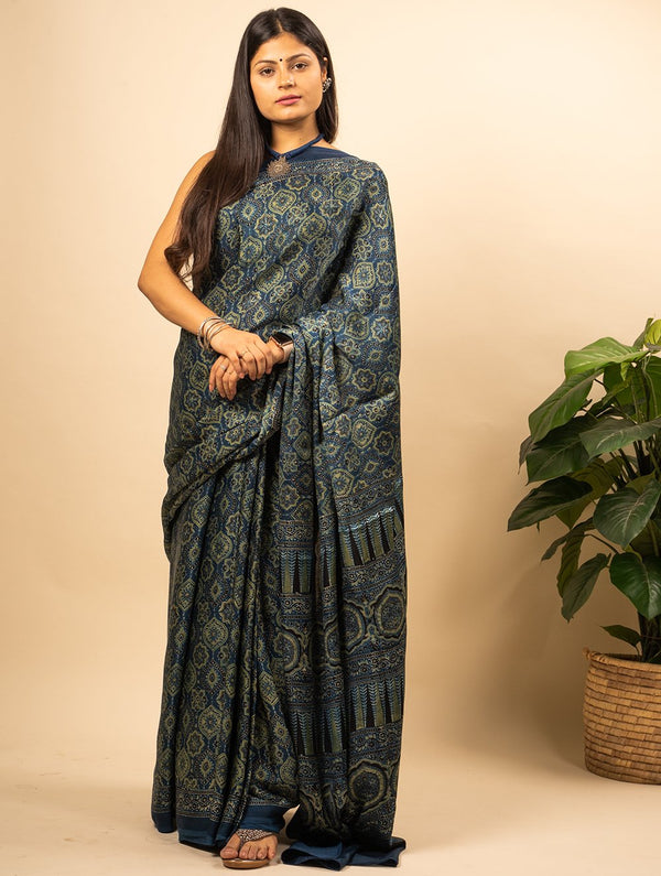 Classic Ajrakh Block Printed Modal Silk Saree (With Blouse Piece)