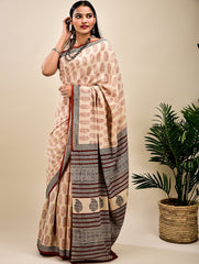 Classic Bagru Block Printed Cotton Mul Saree (With Blouse Piece)