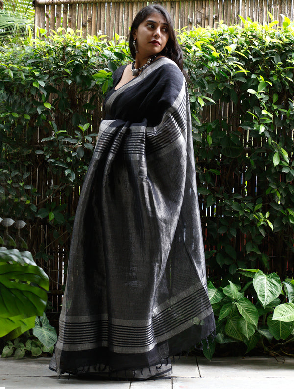 Classic Bhagalpur Linen Saree With Silver Trimmings - Black & Silver - The India Craft House