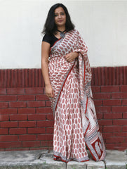 Classic, Soft Bagh Printed Cotton Saree - Off-White & Red