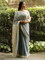 Classic, Soft Andhra Cotton Saree With Woven Jamdani Pallu - Dull Blue & Cream