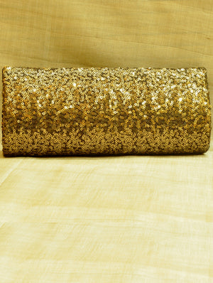 Clutch Bag, Bronze Sequinned Satin - The India Craft House