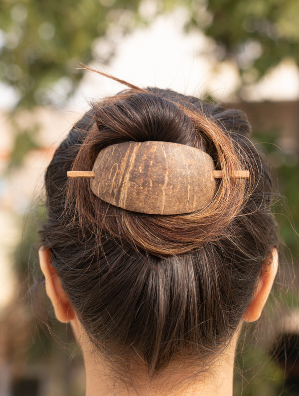 Coconut Shell Hair Clasp With Stick