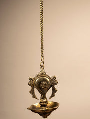 Ornate Conch Hanging Oil Lamp Curio
