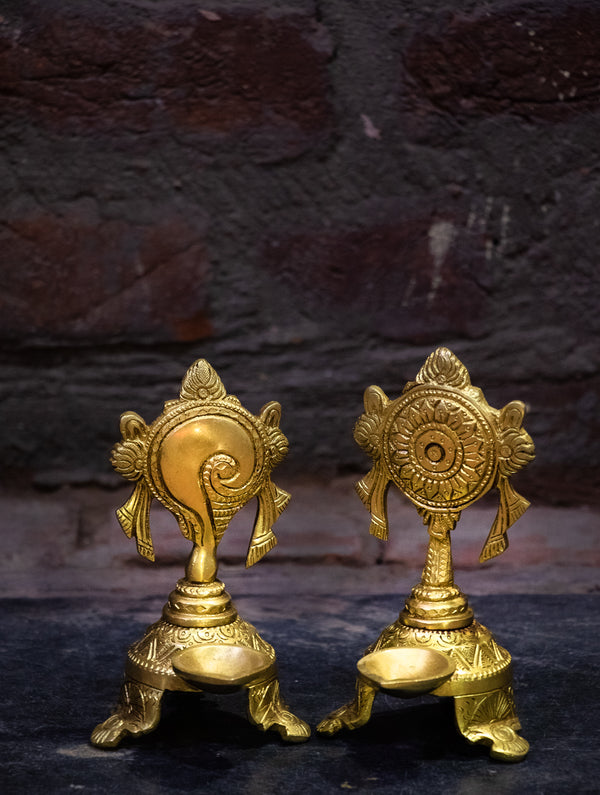 Conch Shell Oil Lamps - Set of 2 - The India Craft House