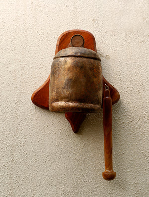 Copper Bell on Wooden Frame - The India Craft House