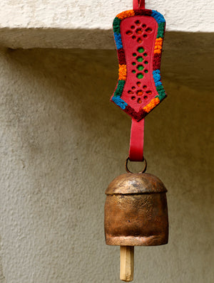 Copper Bell with Leather Hanger - The India Craft House