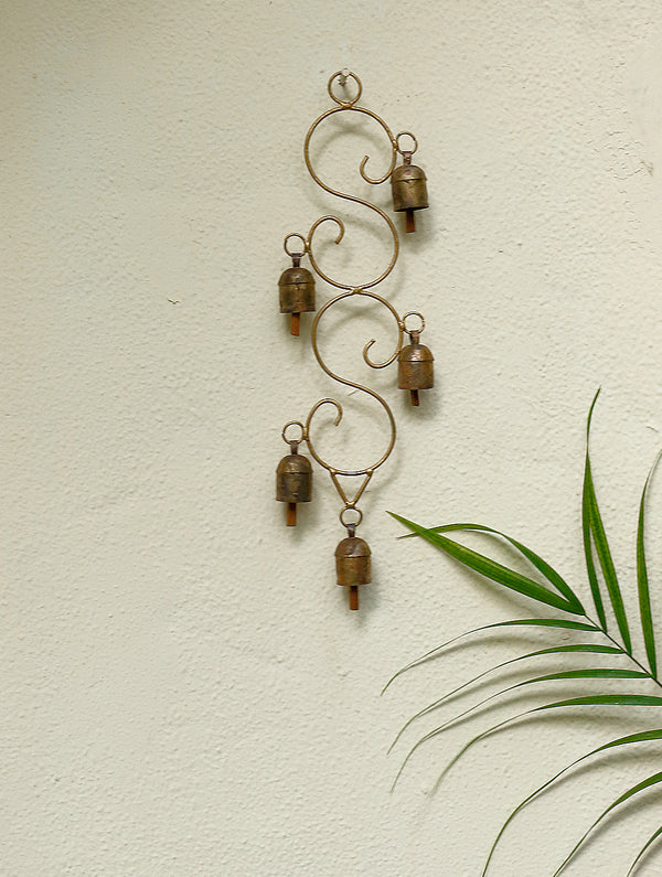 Copper Bells String On Decorative, Curved Frame - The India Craft House