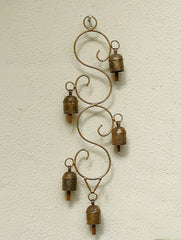 Copper Bells String On Decorative, Curved Frame
