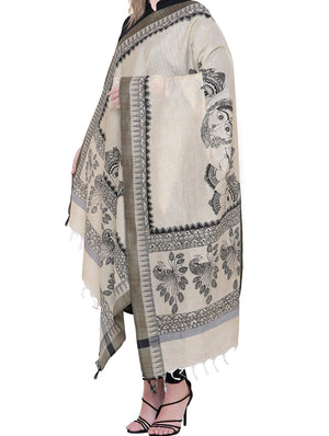 Cotton Silk Madhubani Dupatta with woven black border -  Kalamkari Art in the Madhubani style - The India Craft House