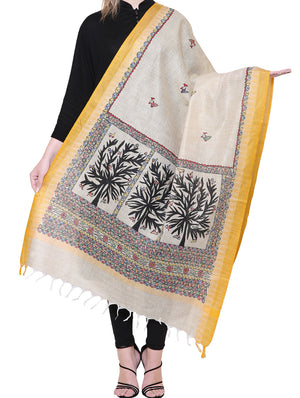 Cotton Silk Madhubani Dupatta with Woven Colored Border - Birds & Flora - The India Craft House