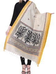 Cotton Silk Madhubani Dupatta with Woven Colored Border - Birds & Flora