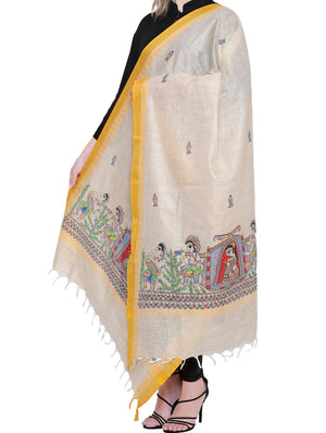 "Cotton Silk Madhubani Dupatta with Woven Colored Border - ""Doli and ""Kahar"" Motifs - The India Craft House"