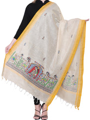 "Cotton Silk Madhubani Dupatta with Woven Colored Border - ""Doli and ""Kahar"" Motifs"