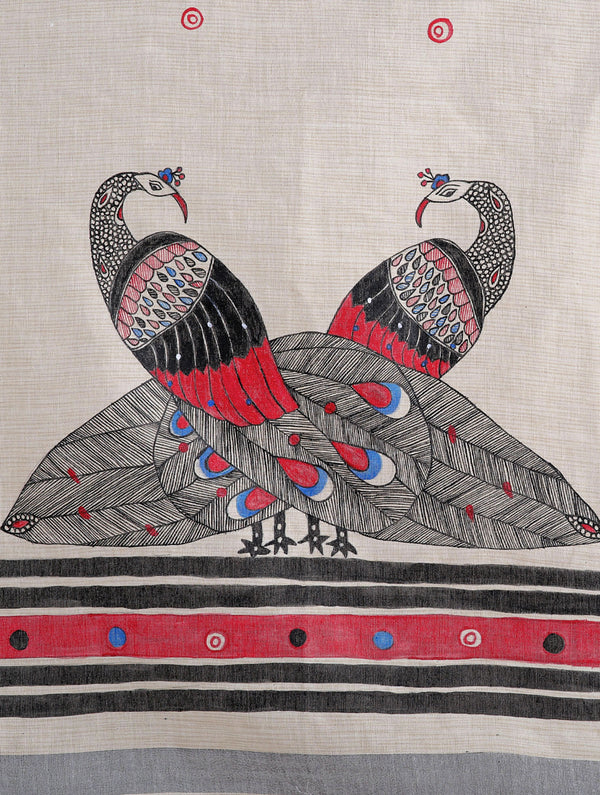 Cotton Silk Madhubani Dupatta with Woven Colored Border - Peacocks - The India Craft House
