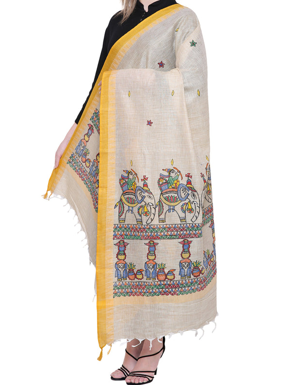 Cotton Silk Madhubani Dupatta with Woven Colored Border - Soldiers & Elephants - The India Craft House