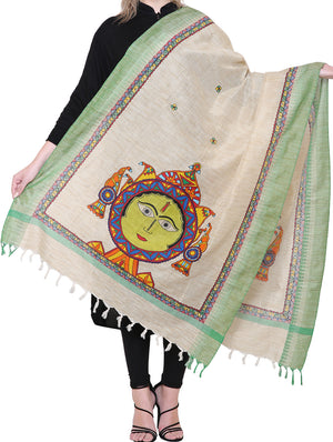 Cotton Silk Madhubani Dupatta with woven colored border - Surya, the Sun God - The India Craft House