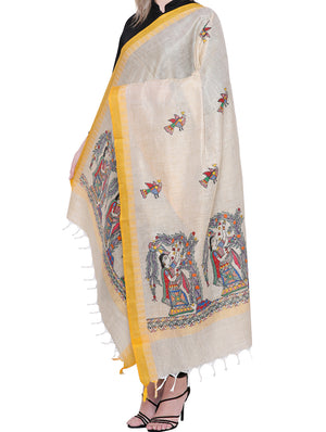 Cotton Silk Madhubani Dupatta with woven colored border  - Women gathering flowers - The India Craft House
