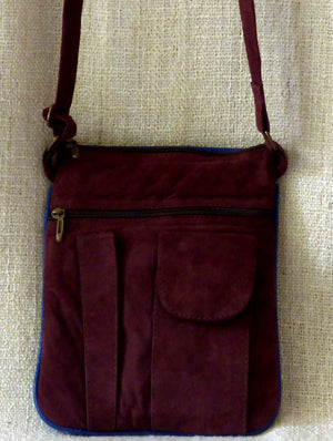 Kashmiri Crewel Work - Crossfront Suede Bag