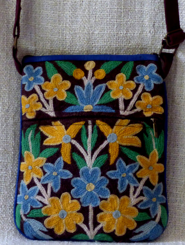 Kashmiri Crewel Work - Crossfront Suede Bag - The India Craft House