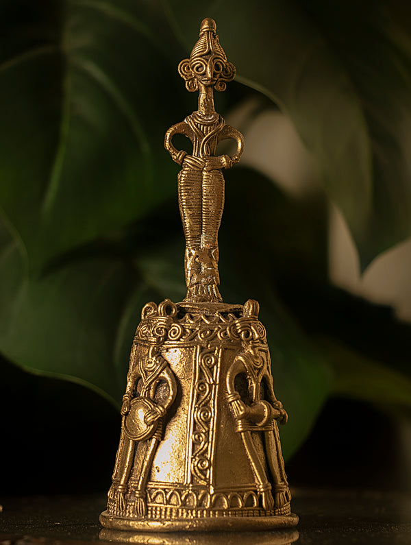 Dhokra Craft Curio - Ornate Bell - The India Craft House