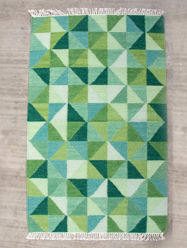 Handwoven Kilim Rug (6 x 4 ft) - Geometric - The India Craft House