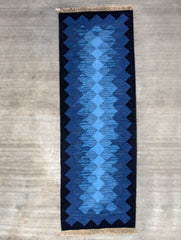 Handwoven Kilim Long Runner Rug (6 x 2 ft) - Zigzags