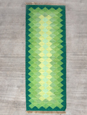 Handwoven Kilim Long Runner Rug (6 x 2 ft) - Zigzags - The India Craft House