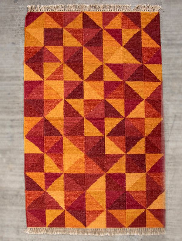 Handwoven Kilim Rug (5 x 3 ft) - Geometric - The India Craft House