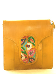 Handcrafted Leather Shoulder  Bag with Kutch Embroidered Patch & Hand Stitch Detail