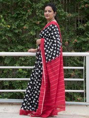 Soft Andhra Cotton Saree - Black, White & Red