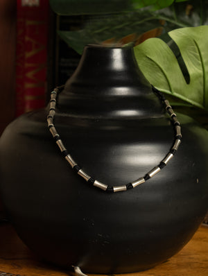 Dhokra Metal Cylinder Beads and Black Thread Choker - The India Craft House